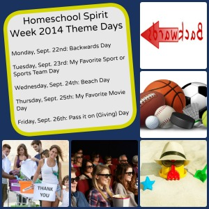 Homeschool Spirit Week 2014 Theme Days